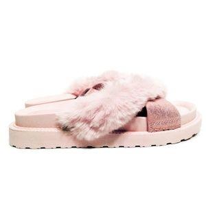 37dda14a83aa Joes Jeans Pink Faux Fur Slides Sandals Flip Flops